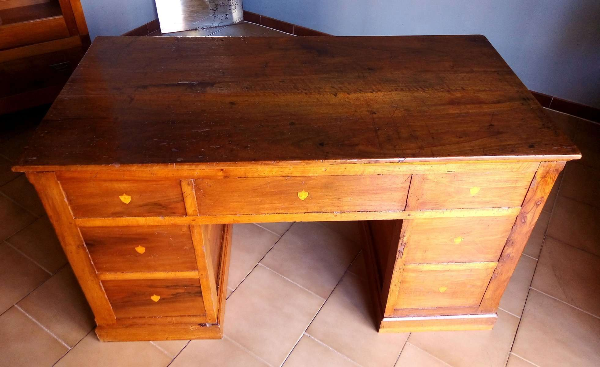 Antique Desk Restored In Walnut With Seven Drawers With Retractable  Wardrobe   RestauriRaia.com Conservation And Restoration Of Wooden Items