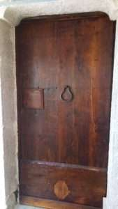 antique chestnut wood door restoration XVIII° century
