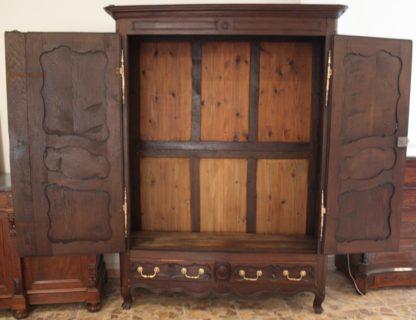 19th century Louis XV solid oak French wardrobe